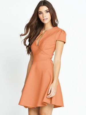 Scuba Skater Dress - length: mid thigh; neckline: low v-neck; pattern: plain; predominant colour: coral; occasions: evening; fit: fitted at waist & bust; style: fit & flare; fibres: polyester/polyamide - stretch; hip detail: subtle/flattering hip detail; sleeve length: short sleeve; sleeve style: standard; texture group: crepes; pattern type: fabric; trends: sorbet shades; season: s/s 2014