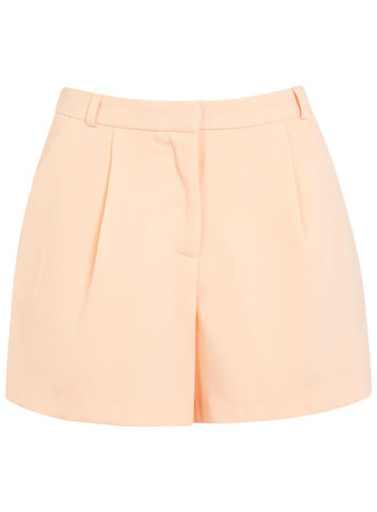 Loose Short - pattern: plain; waist: high rise; predominant colour: nude; occasions: casual, holiday; fibres: polyester/polyamide - 100%; hip detail: front pleats at hip level; pattern type: fabric; texture group: other - light to midweight; season: s/s 2014; style: shorts; length: short shorts; fit: slim leg