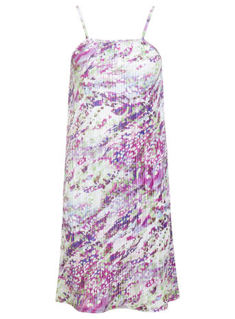 Lilac Pleated Slip Dress - length: mid thigh; sleeve style: spaghetti straps; occasions: casual, evening; fit: soft a-line; style: slip dress; fibres: polyester/polyamide - 100%; predominant colour: multicoloured; sleeve length: sleeveless; texture group: silky - light; neckline: low square neck; pattern type: fabric; pattern size: big & busy; pattern: patterned/print; trends: powerful pleats; season: s/s 2014; multicoloured: multicoloured