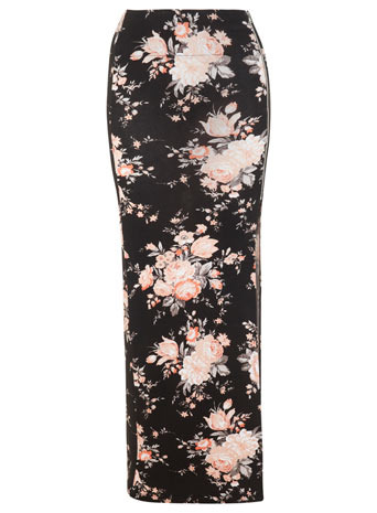 90s Floral Zip Maxi S Kirt - length: ankle length; fit: tight; waist: high rise; secondary colour: coral; predominant colour: black; occasions: casual, evening; style: maxi skirt; fibres: viscose/rayon - stretch; hip detail: slits at hip; pattern type: fabric; pattern: florals; texture group: jersey - stretchy/drapey; trends: furious florals; season: s/s 2014; pattern size: big & busy (bottom)