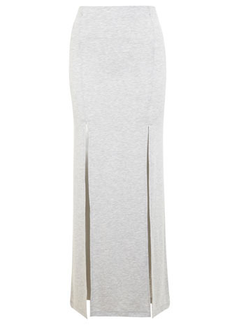 Double Split Maxi Skirt - pattern: plain; length: ankle length; fit: body skimming; waist detail: elasticated waist; waist: high rise; predominant colour: mid grey; occasions: casual, evening, activity; style: maxi skirt; fibres: viscose/rayon - stretch; hip detail: slits at hip; texture group: jersey - clingy; pattern type: fabric; season: s/s 2014
