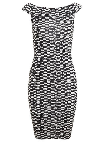 Tribal Bardot Dress - neckline: off the shoulder; sleeve style: capped; fit: tight; style: bodycon; secondary colour: white; predominant colour: black; occasions: evening; length: just above the knee; fibres: viscose/rayon - stretch; sleeve length: sleeveless; texture group: jersey - clingy; pattern type: fabric; pattern: patterned/print; trends: world traveller, monochrome; season: s/s 2014