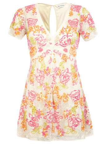Floral Embellished Playsuit - neckline: low v-neck; fit: tailored/fitted; length: short shorts; predominant colour: ivory/cream; secondary colour: pink; occasions: casual, evening, holiday; fibres: polyester/polyamide - 100%; back detail: keyhole/peephole detail at back; sleeve length: short sleeve; sleeve style: standard; style: playsuit; pattern type: fabric; pattern size: big & busy; pattern: florals; texture group: other - light to midweight; embellishment: sequins; season: s/s 2014; multicoloured: multicoloured; wardrobe: highlight; embellishment location: all over