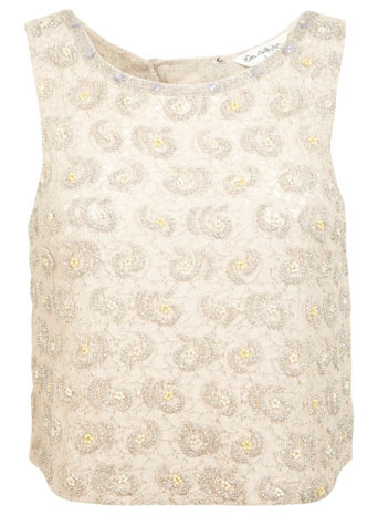 Cream Embellished Lace Top - neckline: round neck; sleeve style: standard vest straps/shoulder straps; bust detail: added detail/embellishment at bust; predominant colour: ivory/cream; occasions: evening; length: standard; style: top; fibres: cotton - mix; fit: straight cut; sleeve length: sleeveless; texture group: lace; pattern type: fabric; pattern: patterned/print; embellishment: beading; trends: summer sparkle, lace; season: s/s 2014