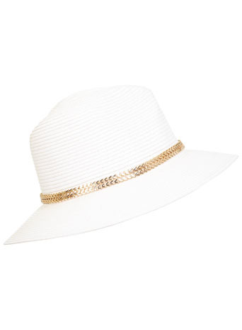 Metral Trim Straw Fedora - predominant colour: white; secondary colour: gold; occasions: casual, holiday; type of pattern: standard; style: sunhat; size: standard; material: macrame/raffia/straw; pattern: plain; embellishment: chain/metal; season: s/s 2014; wardrobe: holiday
