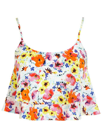 Petites Tropical Cami - sleeve style: spaghetti straps; length: cropped; style: camisole; occasions: casual; neckline: scoop; fibres: polyester/polyamide - 100%; fit: loose; predominant colour: multicoloured; sleeve length: sleeveless; pattern type: fabric; pattern size: standard; pattern: florals; texture group: woven light midweight; trends: furious florals; season: s/s 2014; multicoloured: multicoloured
