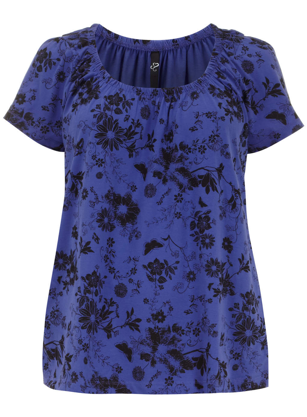 Purple Printed Floral Top - neckline: round neck; style: t-shirt; predominant colour: navy; secondary colour: black; occasions: casual; length: standard; fibres: polyester/polyamide - 100%; fit: body skimming; sleeve length: short sleeve; sleeve style: standard; pattern type: fabric; pattern size: standard; pattern: florals; texture group: jersey - stretchy/drapey; trends: furious florals; season: s/s 2014