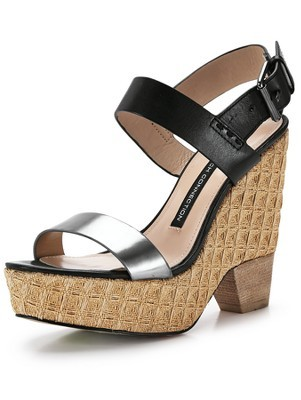 Athela Wedge Sandals, Black - secondary colour: silver; predominant colour: black; occasions: casual, holiday, creative work; material: leather; ankle detail: ankle strap; heel: wedge; toe: open toe/peeptoe; style: standard; finish: plain; pattern: colourblock; heel height: very high; shoe detail: platform; season: s/s 2014