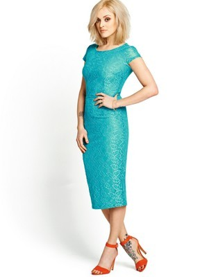 Midi Length Lace Dress, Blue - style: shift; length: below the knee; neckline: round neck; fit: tailored/fitted; predominant colour: turquoise; occasions: evening, occasion; fibres: polyester/polyamide - 100%; sleeve length: short sleeve; sleeve style: standard; texture group: lace; pattern type: fabric; pattern: patterned/print; embellishment: lace; trends: hot brights, lace; season: s/s 2014