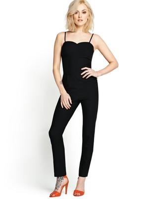 Strappy Jumpsuit, Black - length: standard; sleeve style: spaghetti straps; pattern: plain; neckline: sweetheart; predominant colour: black; occasions: evening; fit: body skimming; fibres: polyester/polyamide - stretch; sleeve length: sleeveless; texture group: crepes; style: jumpsuit; pattern type: fabric; season: s/s 2014