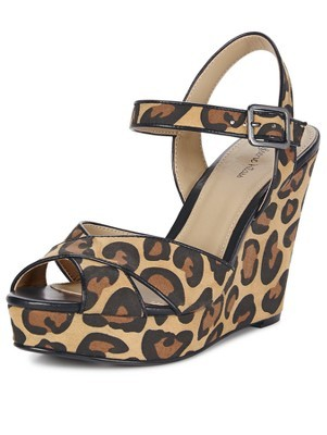 Emma Leopard Print Wedges - secondary colour: chocolate brown; predominant colour: khaki; occasions: casual, creative work; material: faux leather; ankle detail: ankle strap; heel: wedge; toe: open toe/peeptoe; style: standard; finish: plain; pattern: animal print; heel height: very high; shoe detail: platform; season: s/s 2014