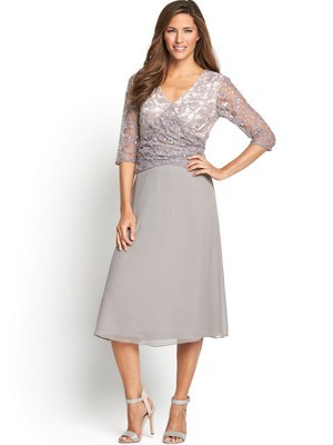 Lace And Ggt Dress, Grey - length: below the knee; neckline: low v-neck; pattern: plain; shoulder detail: contrast pattern/fabric at shoulder; predominant colour: light grey; occasions: evening, occasion; fit: fitted at waist & bust; style: fit & flare; bust detail: contrast pattern/fabric/detail at bust; sleeve length: 3/4 length; sleeve style: standard; texture group: sheer fabrics/chiffon/organza etc.; pattern type: fabric; embellishment: lace; trends: summer sparkle; season: s/s 2014