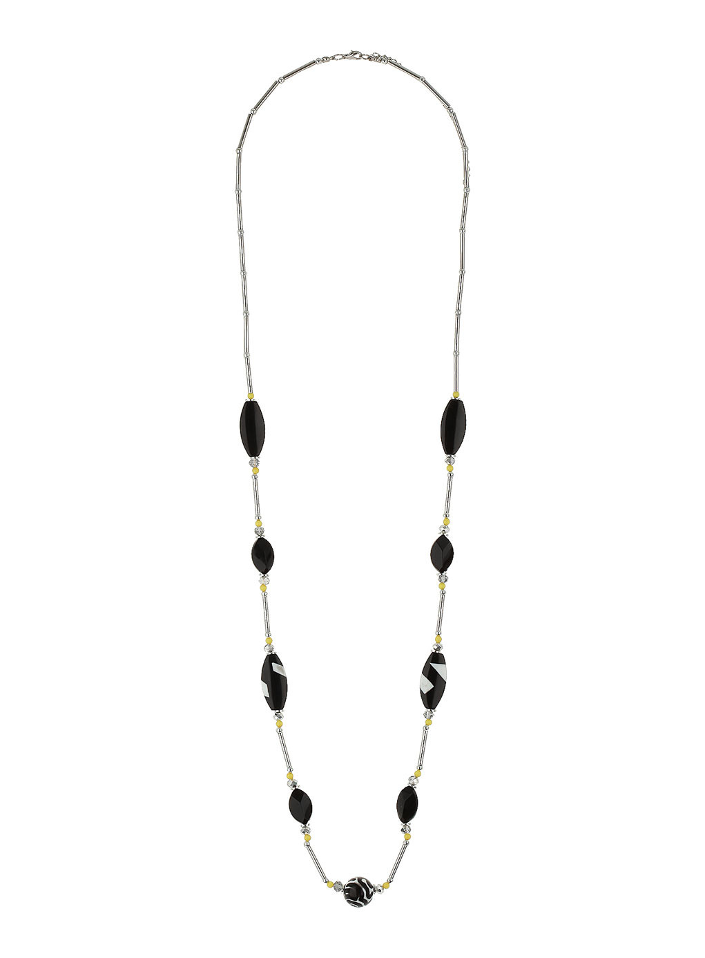 Black Mono Bead Rope Necklace - predominant colour: black; occasions: casual, evening, work, occasion, holiday, creative work; length: long; size: standard; material: chain/metal; finish: plain; embellishment: beading; season: s/s 2014; style: bead