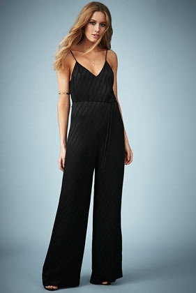 **Shadow Stripe Print Jumpsuit Kate Moss For - length: standard; neckline: low v-neck; sleeve style: spaghetti straps; fit: fitted at waist; pattern: striped; back detail: low cut/open back; waist detail: belted waist/tie at waist/drawstring; predominant colour: black; occasions: evening, occasion; fibres: viscose/rayon - 100%; sleeve length: sleeveless; style: jumpsuit; pattern type: fabric; pattern size: standard; texture group: other - light to midweight; season: s/s 2014