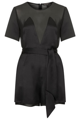 **Satin Playsuit Kate Moss For - neckline: cowl/draped neck; fit: tailored/fitted; pattern: plain; bust detail: sheer at bust; waist detail: belted waist/tie at waist/drawstring; length: mid thigh shorts; predominant colour: black; occasions: evening, occasion, creative work; fibres: polyester/polyamide - 100%; back detail: sheer fabric at back; sleeve length: short sleeve; sleeve style: standard; texture group: structured shiny - satin/tafetta/silk etc.; style: playsuit; pattern type: fabric; season: s/s 2014