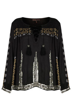 **Embroidered Smock Blouse Kate Moss For - neckline: round neck; pattern: plain; style: blouse; secondary colour: gold; predominant colour: black; occasions: casual, holiday; length: standard; fit: loose; sleeve length: long sleeve; sleeve style: standard; texture group: sheer fabrics/chiffon/organza etc.; pattern type: fabric; embellishment: sequins; fibres: viscose/rayon - mix; trends: summer sparkle; season: s/s 2014