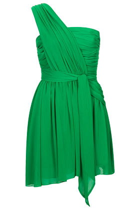 **One Shoulder Chiffon Dress Kate Moss For - pattern: plain; sleeve style: asymmetric sleeve; length: ankle length; neckline: asymmetric; waist detail: belted waist/tie at waist/drawstring; bust detail: ruching/gathering/draping/layers/pintuck pleats at bust; predominant colour: emerald green; occasions: evening; fit: fitted at waist & bust; style: asymmetric (hem); fibres: polyester/polyamide - 100%; hip detail: soft pleats at hip/draping at hip/flared at hip; shoulder detail: flat/draping pleats/ruching/gathering at shoulder; sleeve length: sleeveless; texture group: sheer fabrics/chiffon/organza etc.; pattern type: fabric; trends: hot brights; season: s/s 2014