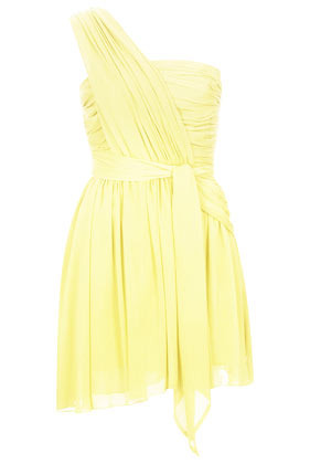 **One Shoulder Chiffon Dress Kate Moss For - length: mid thigh; pattern: plain; sleeve style: asymmetric sleeve; neckline: asymmetric; waist detail: belted waist/tie at waist/drawstring; bust detail: subtle bust detail; predominant colour: primrose yellow; occasions: evening, occasion; fit: fitted at waist & bust; style: asymmetric (hem); fibres: polyester/polyamide - 100%; hip detail: subtle/flattering hip detail; sleeve length: sleeveless; texture group: sheer fabrics/chiffon/organza etc.; pattern type: fabric; trends: sorbet shades; season: s/s 2014
