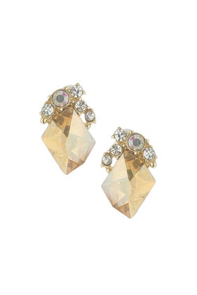 Orange Sparkle Stone Earrings - predominant colour: gold; occasions: evening, occasion; style: stud; length: short; size: standard; material: chain/metal; fastening: pierced; finish: metallic; embellishment: jewels/stone; season: s/s 2014