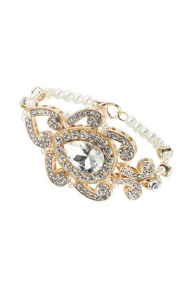 Premium Sparkle Stone Bracelet - predominant colour: gold; occasions: evening, occasion; style: bangle/standard; size: large/oversized; material: chain/metal; finish: metallic; embellishment: crystals/glass; season: s/s 2014