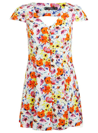 Petites Tropical Tea Dress - style: tea dress; length: mini; neckline: low v-neck; sleeve style: capped; back detail: low cut/open back; occasions: casual; fit: soft a-line; fibres: polyester/polyamide - 100%; predominant colour: multicoloured; sleeve length: short sleeve; pattern type: fabric; pattern size: big & busy; pattern: florals; texture group: other - light to midweight; season: s/s 2014; multicoloured: multicoloured