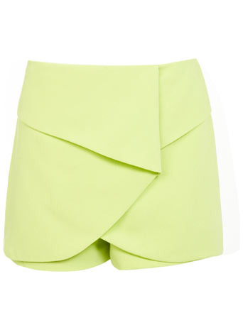 Origami Skort - length: mini; pattern: plain; fit: tailored/fitted; style: skorts; waist: high rise; predominant colour: primrose yellow; occasions: casual; fibres: polyester/polyamide - stretch; pattern type: fabric; texture group: other - light to midweight; trends: hot brights; season: s/s 2014