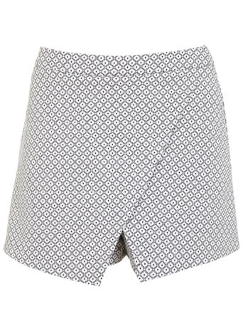 Mono Jaquard Skort - length: mini; fit: tailored/fitted; style: skorts; waist: high rise; secondary colour: white; predominant colour: mid grey; occasions: casual, creative work; fibres: cotton - stretch; pattern type: fabric; pattern: patterned/print; texture group: brocade/jacquard; season: s/s 2014