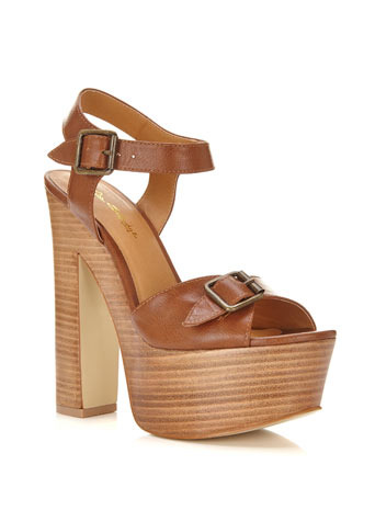 Copenhagen Platform Sandal - predominant colour: tan; occasions: casual, creative work; material: faux leather; embellishment: buckles; ankle detail: ankle strap; heel: block; toe: open toe/peeptoe; style: standard; finish: plain; pattern: plain; heel height: very high; shoe detail: platform; season: s/s 2014