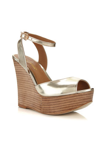 Montenegro Gold Wedge - predominant colour: gold; occasions: casual, creative work; material: faux leather; ankle detail: ankle strap; heel: wedge; toe: open toe/peeptoe; style: standard; finish: metallic; pattern: plain; heel height: very high; shoe detail: platform; season: s/s 2014