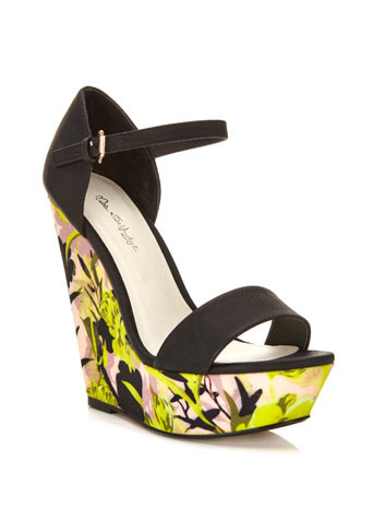 Matilda Print Wedge - occasions: casual, evening, holiday, creative work; predominant colour: multicoloured; material: fabric; ankle detail: ankle strap; heel: wedge; toe: open toe/peeptoe; style: standard; finish: plain; pattern: florals; heel height: very high; shoe detail: platform; season: s/s 2014; multicoloured: multicoloured