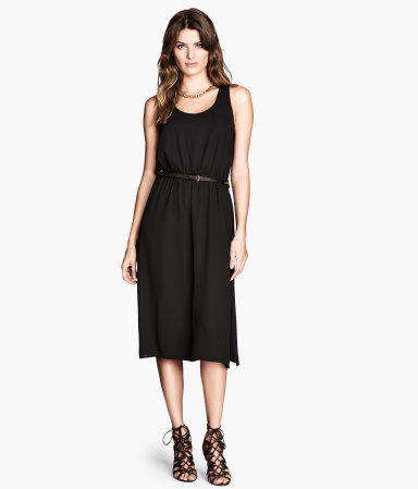 Sleeveless Dress - style: shift; length: below the knee; neckline: round neck; fit: fitted at waist; pattern: plain; sleeve style: sleeveless; waist detail: belted waist/tie at waist/drawstring; predominant colour: black; occasions: casual, creative work; fibres: polyester/polyamide - 100%; sleeve length: sleeveless; pattern type: fabric; texture group: other - light to midweight; season: s/s 2014