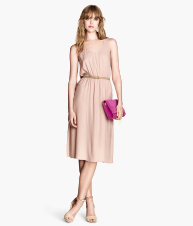 Sleeveless Dress - style: shift; fit: fitted at waist; pattern: plain; sleeve style: sleeveless; waist detail: belted waist/tie at waist/drawstring; predominant colour: nude; occasions: evening, occasion; length: on the knee; neckline: scoop; fibres: polyester/polyamide - 100%; sleeve length: sleeveless; pattern type: fabric; texture group: other - light to midweight; season: s/s 2014