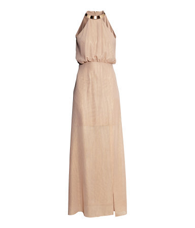 Maxi Dress - fit: fitted at waist; pattern: plain; sleeve style: sleeveless; style: maxi dress; waist detail: elasticated waist; back detail: back revealing; predominant colour: gold; occasions: evening, occasion; length: floor length; fibres: polyester/polyamide - 100%; neckline: crew; sleeve length: sleeveless; texture group: sheer fabrics/chiffon/organza etc.; pattern type: fabric; trends: shimmery metallics; season: s/s 2014