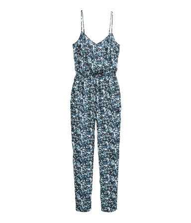 Satin Jumpsuit - length: standard; neckline: low v-neck; sleeve style: spaghetti straps; fit: fitted at waist; secondary colour: pale blue; predominant colour: navy; occasions: casual, evening, holiday; fibres: polyester/polyamide - 100%; sleeve length: sleeveless; style: jumpsuit; pattern type: fabric; pattern size: big & busy; pattern: patterned/print; texture group: other - light to midweight; season: s/s 2014