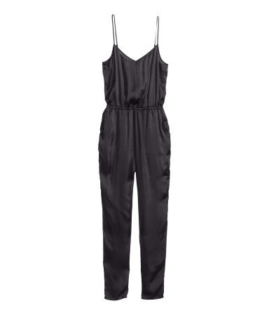 Satin Jumpsuit - length: standard; neckline: low v-neck; sleeve style: spaghetti straps; fit: fitted at waist; pattern: plain; waist detail: elasticated waist; predominant colour: black; occasions: casual, evening, holiday; fibres: polyester/polyamide - 100%; sleeve length: sleeveless; texture group: structured shiny - satin/tafetta/silk etc.; style: jumpsuit; pattern type: fabric; season: s/s 2014