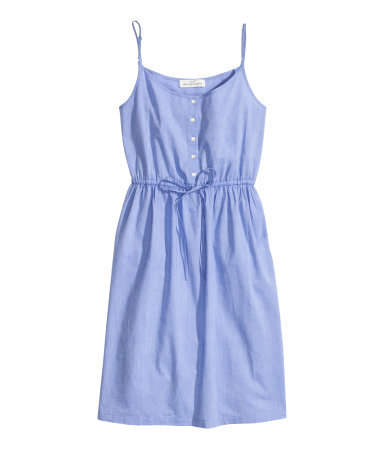Chambray Dress - sleeve style: spaghetti straps; fit: fitted at waist; pattern: plain; style: sundress; waist detail: belted waist/tie at waist/drawstring; bust detail: buttons at bust (in middle at breastbone)/zip detail at bust; predominant colour: denim; occasions: casual, holiday; length: just above the knee; neckline: scoop; fibres: cotton - 100%; sleeve length: sleeveless; texture group: cotton feel fabrics; pattern type: fabric; season: s/s 2014