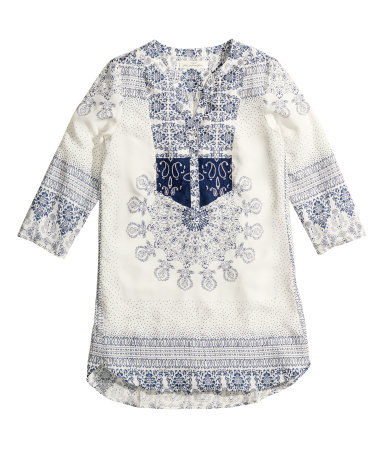 Patterned Tunic - neckline: v-neck; length: below the bottom; style: tunic; predominant colour: ivory/cream; secondary colour: navy; occasions: casual, holiday; fibres: viscose/rayon - 100%; fit: loose; sleeve length: 3/4 length; sleeve style: standard; pattern type: fabric; pattern: patterned/print; texture group: other - light to midweight; embellishment: embroidered; trends: world traveller; season: s/s 2014