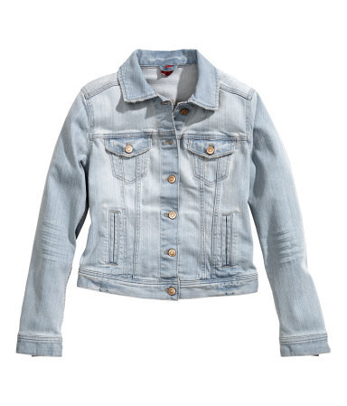 Denim Jacket - pattern: plain; style: denim; predominant colour: pale blue; occasions: casual; length: standard; fit: straight cut (boxy); fibres: cotton - stretch; collar: shirt collar/peter pan/zip with opening; sleeve length: long sleeve; sleeve style: standard; texture group: denim; collar break: high/illusion of break when open; pattern type: fabric; season: s/s 2014