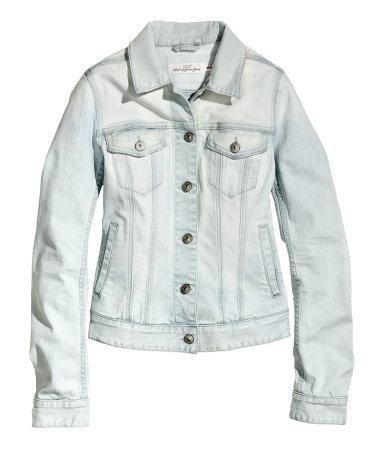 Denim Jacket - pattern: plain; style: denim; fit: slim fit; predominant colour: white; occasions: casual, creative work; length: standard; fibres: cotton - stretch; collar: shirt collar/peter pan/zip with opening; sleeve length: long sleeve; sleeve style: standard; texture group: denim; collar break: high/illusion of break when open; pattern type: fabric; season: s/s 2014