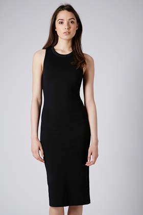 Racerback Sporty Midi Dress - style: shift; neckline: round neck; pattern: plain; sleeve style: sleeveless; back detail: racer back/sports back; predominant colour: black; occasions: casual, evening, occasion, creative work; length: on the knee; fit: body skimming; fibres: polyester/polyamide - stretch; sleeve length: sleeveless; pattern type: fabric; texture group: jersey - stretchy/drapey; season: s/s 2014