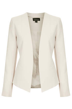 Georgina Blazer - pattern: plain; style: single breasted blazer; collar: round collar/collarless; predominant colour: ivory/cream; occasions: evening, work, occasion, creative work; length: standard; fit: tailored/fitted; fibres: polyester/polyamide - stretch; sleeve length: long sleeve; sleeve style: standard; collar break: low/open; pattern type: fabric; texture group: woven light midweight; season: s/s 2014