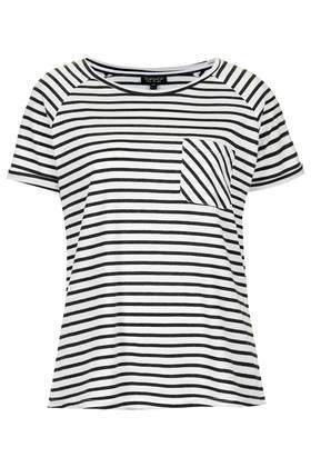 Stripe Raglan Tee - neckline: round neck; sleeve style: raglan; pattern: horizontal stripes; style: t-shirt; bust detail: pocket detail at bust; predominant colour: white; secondary colour: black; occasions: casual; length: standard; fibres: polyester/polyamide - mix; fit: straight cut; sleeve length: short sleeve; pattern type: fabric; pattern size: standard; texture group: jersey - stretchy/drapey; season: s/s 2014; trends: monochrome