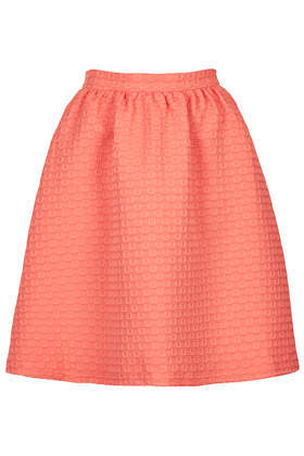 Texture Gathered Knee Midi Skirt - pattern: plain; style: full/prom skirt; fit: loose/voluminous; waist: high rise; predominant colour: coral; occasions: casual, evening, creative work; length: just above the knee; fibres: polyester/polyamide - stretch; waist detail: feature waist detail; pattern type: fabric; texture group: woven light midweight; trends: hot brights, sorbet shades; season: s/s 2014