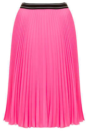 Sport Waistband Pleat Midi Skirt - pattern: plain; fit: loose/voluminous; style: pleated; waist: high rise; occasions: casual, evening, creative work; length: on the knee; fibres: polyester/polyamide - 100%; hip detail: structured pleats at hip; waist detail: narrow waistband; texture group: sheer fabrics/chiffon/organza etc.; pattern type: fabric; predominant colour: dusky pink; trends: hot brights; season: s/s 2014