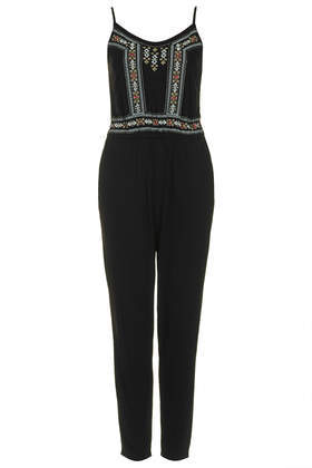 Embroidered Strappy Jumpsuit - sleeve style: spaghetti straps; fit: fitted at waist; pattern: plain; secondary colour: pale blue; predominant colour: black; occasions: casual, evening, holiday; length: ankle length; neckline: scoop; fibres: viscose/rayon - 100%; sleeve length: sleeveless; style: jumpsuit; pattern type: fabric; pattern size: light/subtle; texture group: other - light to midweight; embellishment: embroidered; season: s/s 2014