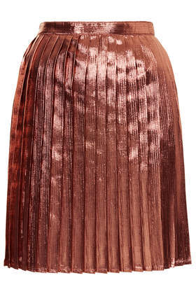 Lurex Metallic Pleat Skirt - length: mid thigh; pattern: plain; fit: loose/voluminous; style: pleated; waist: high rise; predominant colour: tan; occasions: evening, creative work; fibres: polyester/polyamide - 100%; hip detail: adds bulk at the hips; waist detail: feature waist detail; pattern type: fabric; texture group: other - light to midweight; trends: shimmery metallics; season: s/s 2014