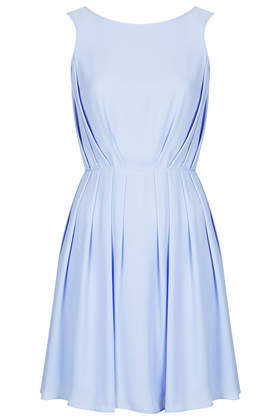 Poppy Pleat Mini Dress - length: mid thigh; neckline: round neck; pattern: plain; sleeve style: sleeveless; back detail: low cut/open back; bust detail: ruching/gathering/draping/layers/pintuck pleats at bust; predominant colour: pale blue; occasions: casual, evening, occasion; fit: fitted at waist & bust; style: fit & flare; fibres: polyester/polyamide - 100%; hip detail: soft pleats at hip/draping at hip/flared at hip; sleeve length: sleeveless; pattern type: fabric; texture group: other - light to midweight; trends: sorbet shades, monochrome; season: s/s 2014