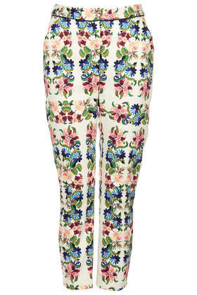 Tapestry Floral Cigarette - style: capri; waist: mid/regular rise; occasions: casual, evening, creative work; length: ankle length; fibres: cotton - stretch; predominant colour: multicoloured; fit: slim leg; pattern type: fabric; pattern: florals; texture group: woven light midweight; trends: furious florals; season: s/s 2014; pattern size: standard (bottom); multicoloured: multicoloured