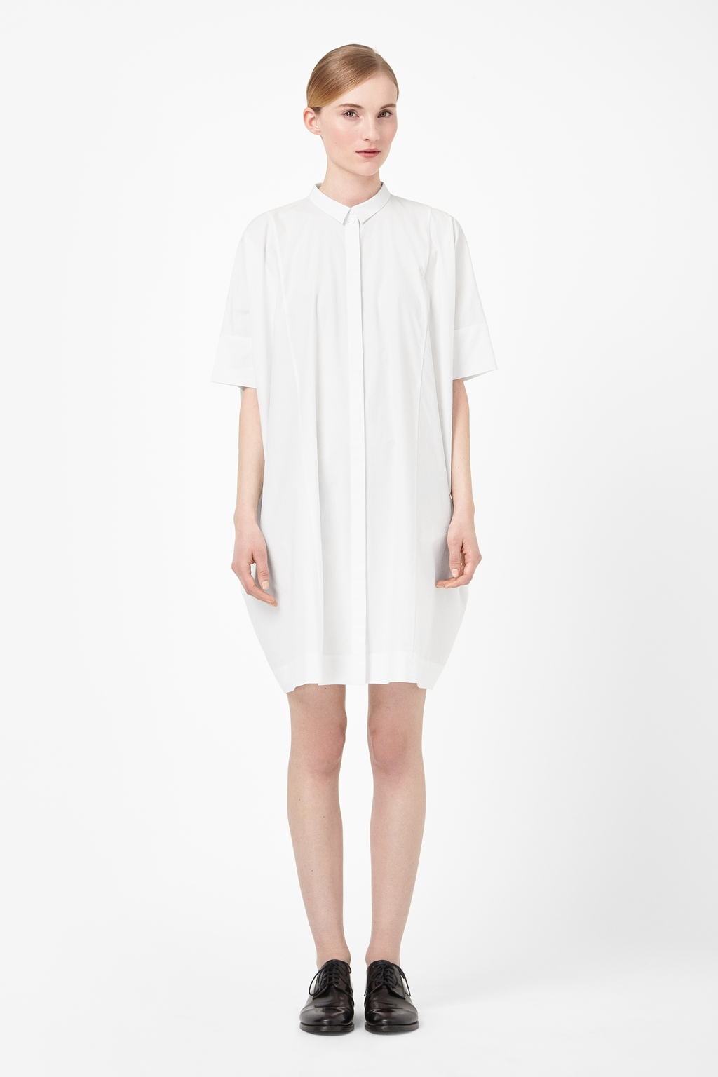 Square Cut Cotton Dress - style: smock; neckline: shirt collar/peter pan/zip with opening; fit: loose; pattern: plain; predominant colour: white; occasions: casual, creative work; length: just above the knee; fibres: cotton - 100%; sleeve length: half sleeve; sleeve style: standard; texture group: cotton feel fabrics; pattern type: fabric; season: s/s 2014