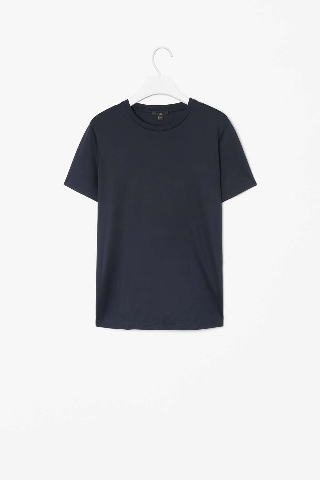 Short Sleeved T Shirt - pattern: plain; style: t-shirt; predominant colour: navy; occasions: casual; length: standard; fibres: cotton - stretch; fit: straight cut; neckline: crew; sleeve length: short sleeve; sleeve style: standard; pattern type: fabric; texture group: jersey - stretchy/drapey; season: s/s 2014